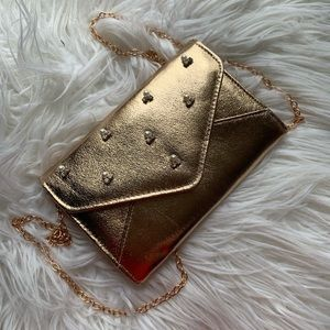 Rose Gold Bejeweled Clutch with chain strap